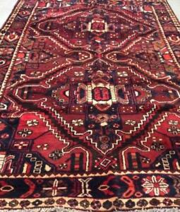 Bakhtiari Antique Persian Rug, Handmade Carpet, Wool, Red, Burgundy, Brown & Beige Size: 9.8X 6.5 ft