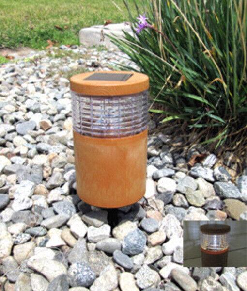Garden Solor Light Cylinder Wood Grain Texture Plastic Fence Post Light Brown Home & Garden