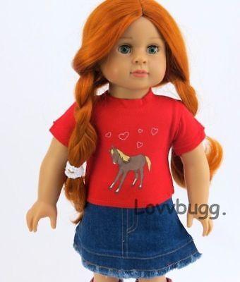 Red Cowgirl Denim Skirt Set for American Girl 18