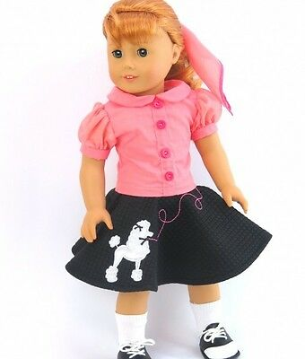 5 Piece 50's Poodle Skirt Outfit Fits American Girl Dolls-18