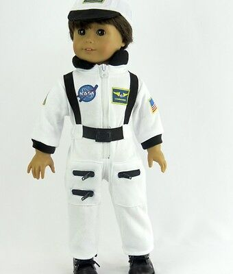 White NASA Astronaut Costume for 18'' Doll Clothes American Girl Luciana or - Girls Astronaut Costume
