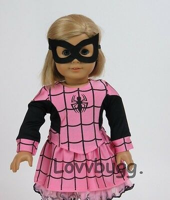 Pink Spider Girl Costume with MASK for American Girl 18 inch and Bitty Baby 15 inch Doll Clothes with Accessory