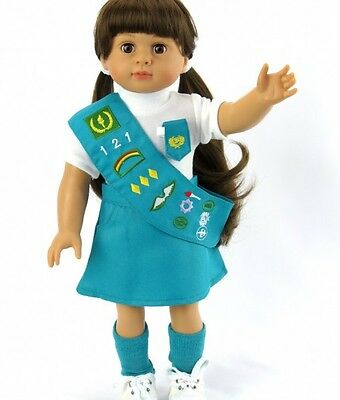 "Lovvbugg Junior Scout Uniform for 18"" American Girl Doll Clothes"