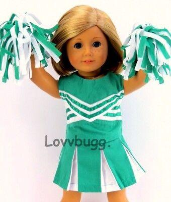 Green CheerLeader Uniform wPoms for American Girl 18
