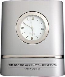 George Washington University - Brushed Silver Two-Toned Desk Clock
