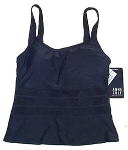 ANNE COLE Navy Blue Tankini Top - Womens Size 6 - NEW