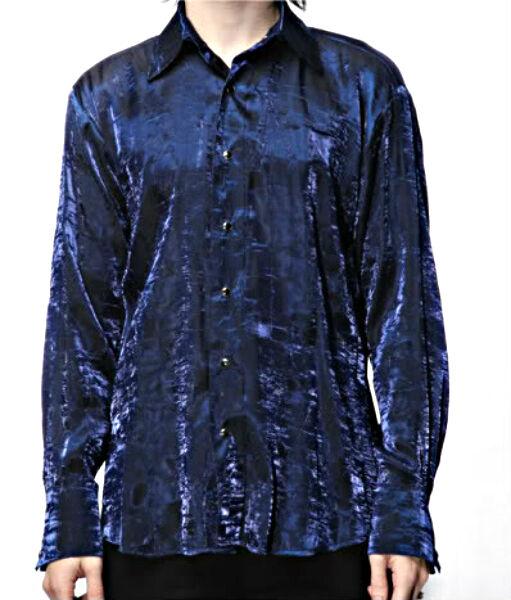 SHRINE SHIMMER GOTHIC VAMPIRE LESTAT STEAMPUNK POET PIRAT VICTORIAN BLUE SHIRT Casual Button-Down Shirts