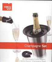 Vacu Vin Champagne Set Bottle Opener + Stainless Cooler + Saver