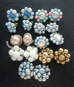 9 pairs of vintage 1950's 60's clip on earrings (for repair) -