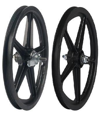 16 Skyway Tuff Wheel 2 Mag Wheel Set 16 Coaster Brake Mag Bmx Wheels Black Set
