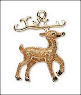 Reindeer Glitter Enamel Charm (1)