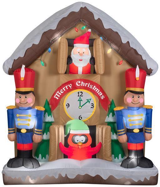 Gemmy 6.5' Animated Airblown Santa Clock Christmas Inflatable