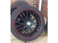 Set of 4, Motion 2 black 17'' x 7'' alloy wheels
