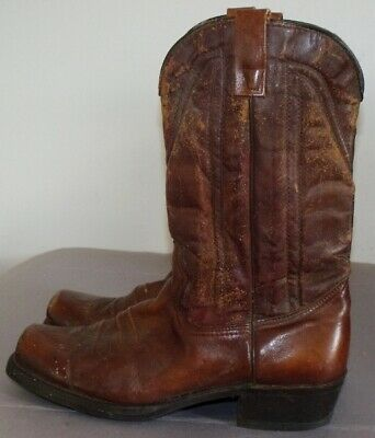 Men's Brown Leather Western Boots Square Toe Size 10.5 EE Made in USA