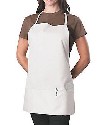 Brand New Adjustable Restaurant Waitress Bib Apron White w/ Pockets USA Made!