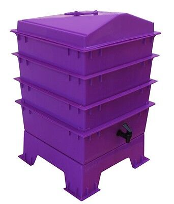 Purple TIGER RAINBOW WORMERY, Stacking Tray x 4, Composter Waste Compost Bin NEW