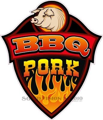 Bbq Pork Barbecue Concession Food Cart Hot Dog Truck Vinyl Weatherproof Decal