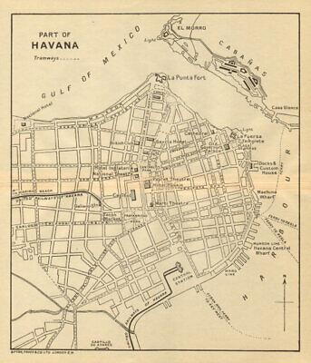 HAVANA. Vintage town plan. Railways & streetcar lines. Cuba. Caribbean 1935 map