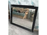 Large Mirror with Black Glass edge