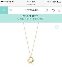 Tiffany & co Elsa open heart necklace  Cambridge Kitchener Area image 1