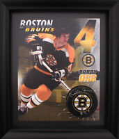 Bobby Orr signed puck display with COA