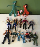 Lot of 15 collectible action & toy figures - Gumby, Biker Mice