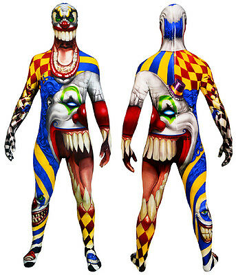 Scary Clown Official Monster Morphsuit Halloween Fancy Dress Size M - L - Scary Morphsuit