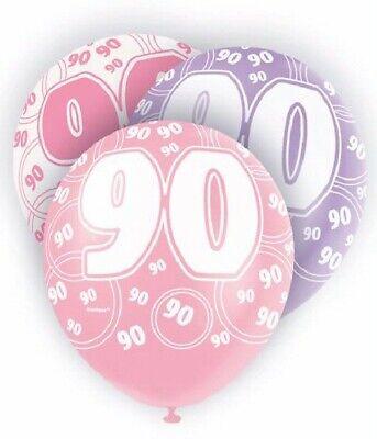 6 x Pink 90th Birthday 12