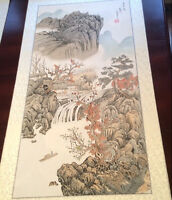"Original Chinese Landscape Watercolor Painting ""River side"""