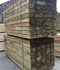 """🌲Wooden Pressure Treated Sleepers •New• 8""""X 4""""X 2.4M🌲"""