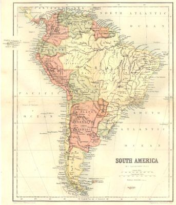 SOUTH AMERICA. South America 1864 old antique vintage map plan chart