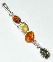 3 Color AUTHENTIC BALTIC AMBER in one 925 STERLING SILVER PENDAN