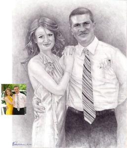 CADEAU POUR LE MARIAGE- PORTRAIT ART WORK d'après votre photo