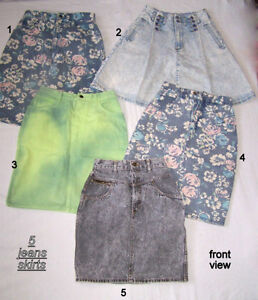 5 quality vintage jeans skirts, excellent condition, 9-10 -12-5