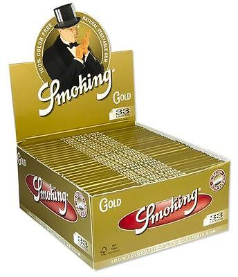 Smoking Gold King Size Slim KS Papers Zigarettenpapier Box SMK Rolling Paper ()