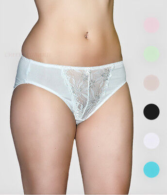 S M Silky Soft Stretch Front Lace High Cut Full Coverage Rear Brief Panties