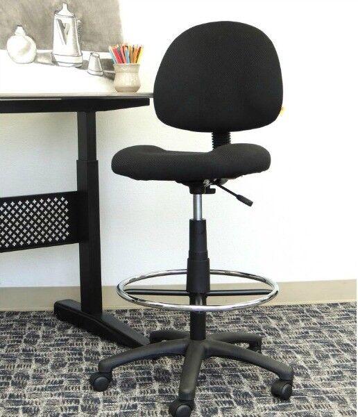 Rolling Office Stool Drafting Work Adjustable Height Swivel