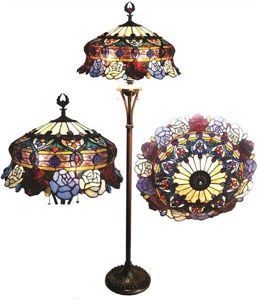 Tiffany Style Roses Scalloped Floor Lamp