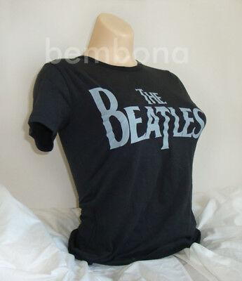 THE BEATLES Logo Black Womens Juniors T Shirt Rock Punk Fashion NWOT MED LRG Beatles Ladies T-shirt