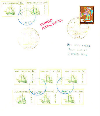 1971 STRIKE MAIL PUBLIC MAIL ALL 8 PRE DECIMALS ON COVER TO GERMANY