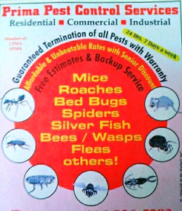 PRIMA PEST CONTROL SERVICES --- GTA AND SURROUNDING AREAS