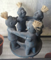 3 African Ceramic Candle Holder - 1980's