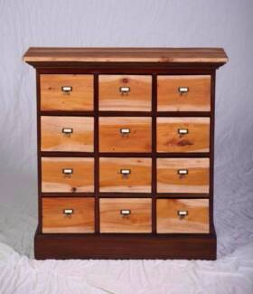 Lovely hand made solid hardwood upcycled apothecary style drawers