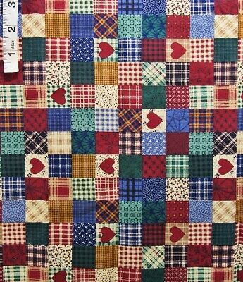 Multi Colored Country Plaid Squares,heart Print Cotton Quilt Fabric,cranston