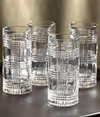 4 RALPH LAUREN HIBALL HIGH BALL HI TALL GLASSES CRYSTAL GLEN PLAID  NEW