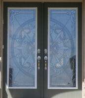Stained Glass & Wroght Iron Door inserts