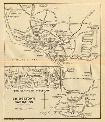 BRIDGETOWN. Vintage town map. Barbados. West Indies. Caribbean 1935 old