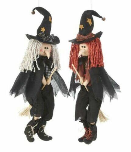 Set of 2 Hanging & Shelf Sitter  Witch w Broom Doll Halloween Delton