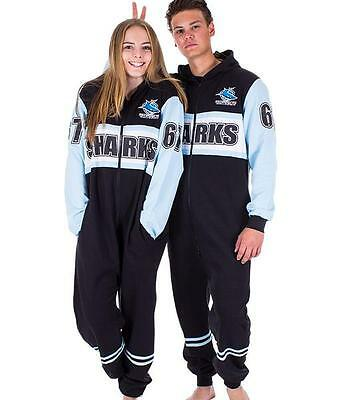 Shark Onesie Adult (NRL Onesie Footy Suit - Cronulla Sharks - Infant Kids Youth Adult - All)