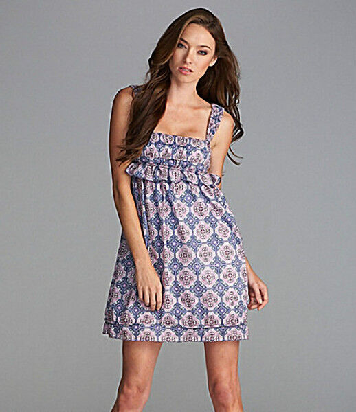 $118 MSSP MAX STUDIO Lavender Diamond Print Cotton/Silk Mini Dress sz M NWT